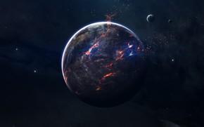 Картинка Звезды, Планета, Космос, Осколки, Пламя, Арт, Stars, Space, Art, Спутник, Flame, Planet, Satellite, Lava, Пространство, …