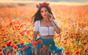 Картинка поле, лето, девушка, цветы, поза, настроение, маки, брюнетка, тату, венок, Anna Rawka