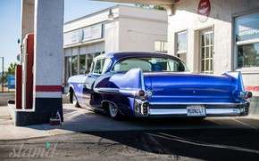Картинка Car, Blue, Coupe, Cadillac Deville, Filling station