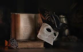 Картинка маска, книга, натюрморт