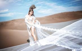 Картинка песок, небо, девушка, природа, берег, белье, корабль, платье, ткань, образ, азиатка