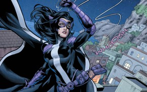 Картинка city, girl, fantasy, blue eyes, comics, buildings, artwork, mask, superhero, costume, fantasy art, DC Comics, …