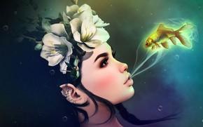 Картинка девушка, цветы, рыбка, венок