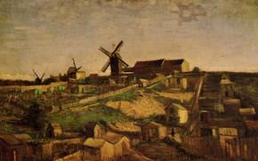 Картинка мельница, деревушка, Vincent van Gogh, View of Montmartre, with Windmills