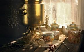 Картинка свет, цветы, уют, ягоды, стол, чай, ромашки, букет, чайник, деревня, сухой, окно, плоды, сухие, ложка, …