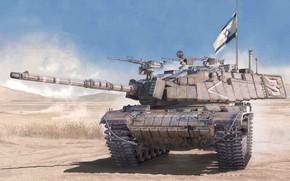 Картинка флаг, арт, танк, ЦАХАЛ, Israel Main Battle Tank, Magach 6B GAL