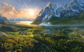 Картинка Природа, Облака, Дома, Горы, Рисунок, Деревья, Река, Рассвет, Арт