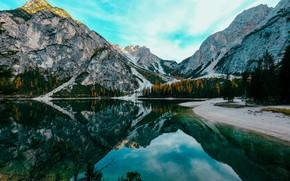 Картинка Природа, Отражение, Горы, Озеро, Деревья, Гора, Лес, Канада, Banff National Park, Пейзаж, Nature, Sky, Canada, …