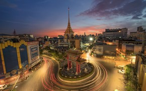 Картинка дорога, город, огни, здания, кольцо, Таиланд, Тайланд, Бангкок
