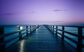 Картинка Sky, Lights, Sea, Pier