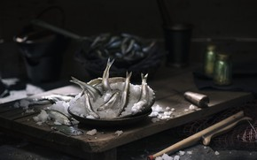 Картинка снег, рыба, мойва