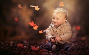 Картинка осень, листья, природа, мальчик, малыш, куртка, ребёнок, боке, штанишки, Paul Webb