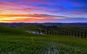 Картинка sunset, italy, toscana