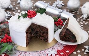 Картинка шары, торт, Новый год, Christmas, выпечка, New Year, декор
