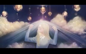 Картинка небо, девушка, шарики, ночь, фэнтези