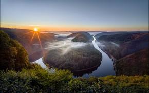 Картинка лес, небо, закат, река, вид, высота, Германия, изгиб, Georg Scharf, Saarschleife Riverbend