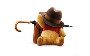 Обои медвежонок, мишка, Винни, белый фон, плюшевый, мультфильм, Winnie the Pooh, портфель, Кристофер Робин, Christopher Robin, ...