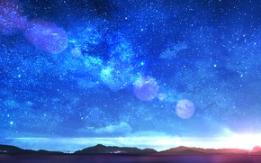 Картинка небо, вода, звезды, закат