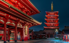Картинка ночь, улица, здания, Япония, Léonard Rodriguez