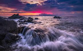 Картинка море, волны, закат, камни, скалы, марина