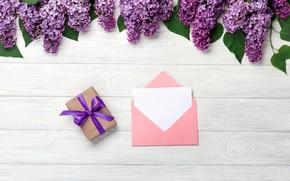 Картинка цветы, love, wood, flowers, сирень, romantic, letter, spring, purple, lilac, gift box