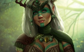 Картинка девушка, лицо, арт, рога, диадема, друид