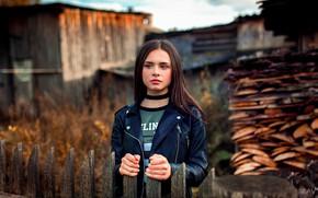 Картинка осень, глаза, взгляд, поза, забор, Девушка, Aleksandr Suhar, Ксения Сироткина