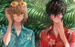 Картинка зелень, тропики, игра, аниме, арт, парни, персонажи, Persona 5, Персона 5