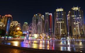 Картинка небо, ночь, город, огни, улица, плитка, здания, дома, небоскребы, подсветка, фонари, Тайвань, фонтан, вывески, архитектура, …