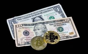 Картинка деньги, монеты, доллары, черный фон, купюры, Bitcoin, биткоин