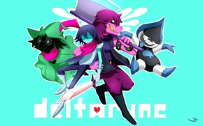 Картинка игра, персонажи, бирюзовый фон, Deltarune