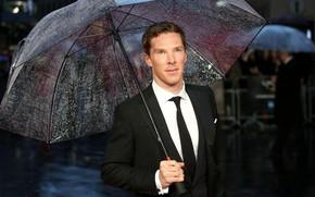 Картинка дождь, зонт, мужчина, Бенедикт Камбербэтч, Benedict Cumberbatch, британский актер