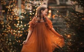 Картинка праздник, девочка, ёлки