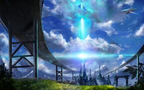 Картинка небо, природа, город, фантастика, техника, GN-09