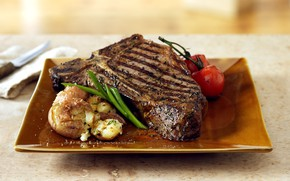 Картинка Meat, Tomato, Food, Steak, Potato, Roasted meat, Onion