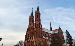 Картинка зима, улица, день, Польша, костел, Poland