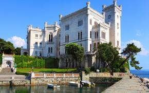 Картинка море, замок, Италия, Триест, Miramare, Мирамаре