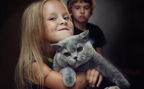 Картинка кошка, взгляд, ребенок, девочка