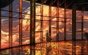 Картинка небо, девушка, закат, комната