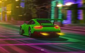 Картинка Авто, Porsche, Машина, Porsche 911, Neon, Synth, Gran Turismo Sport, Retrowave, Synthwave, Porsche 911 RSR, ...