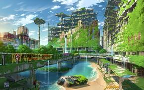Картинка вода, Япония, фэнтези, Токио, автобус, руины