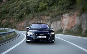 Картинка синий, Audi, седан, спереди, Audi A8, Audi S8, на дороге, 2020, 2019, V8 Biturbo