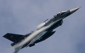 Картинка Япония, Радуга, Japan, F-16, Воздушные силы самообороны Японии, Mitsubishi F-2, Эффект Прандтля — Глоерта, Mitsubishi …