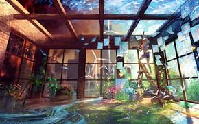 Картинка птицы, ручей, комната, стены, краски, растения, потолок, художница, стремянка, фантазийный мир, by Yuumei