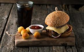 Обои выпечка, доска, гамбургер, кетчуп