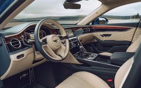 Картинка Bentley, руль, салон, Bentley Continental, Bentley Continental Flying Spur, Bentley Continental Flying