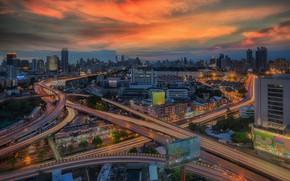 Картинка город, здания, дороги, вечер, Таиланд, Тайланд, Бангкок