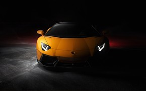 Картинка желтый, фары, тень, Lamborghini, Front, Yellow, Aventador, Lamborghini Aventador