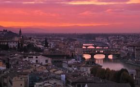Картинка река, Италия, зарево, Флоренция, Старый Мост, Арно