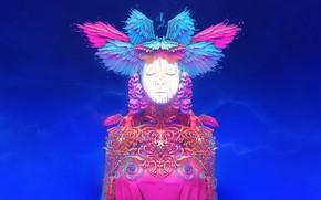 Картинка Цвет, Девушка, Черепа, Стиль, Girl, Крылья, Fantasy, Style, Color, Фантастика, Fiction, Illustration, Wings, Sci-Fi, Science …